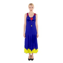 Critical Points Line Circle Red Blue Yellow Sleeveless Maxi Dress