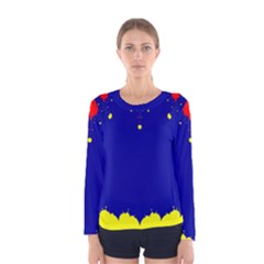 Critical Points Line Circle Red Blue Yellow Women s Long Sleeve Tee
