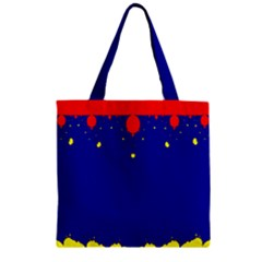 Critical Points Line Circle Red Blue Yellow Zipper Grocery Tote Bag