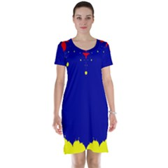 Critical Points Line Circle Red Blue Yellow Short Sleeve Nightdress