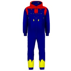 Critical Points Line Circle Red Blue Yellow Hooded Jumpsuit (Men)