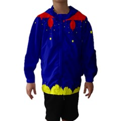 Critical Points Line Circle Red Blue Yellow Hooded Wind Breaker (Kids)