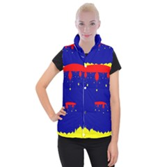 Critical Points Line Circle Red Blue Yellow Women s Button Up Puffer Vest