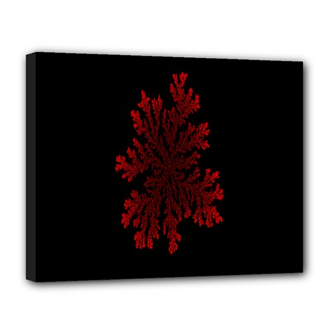 Dendron Diffusion Aggregation Flower Floral Leaf Red Black Canvas 14  x 11