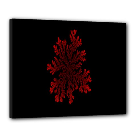 Dendron Diffusion Aggregation Flower Floral Leaf Red Black Canvas 20  x 16
