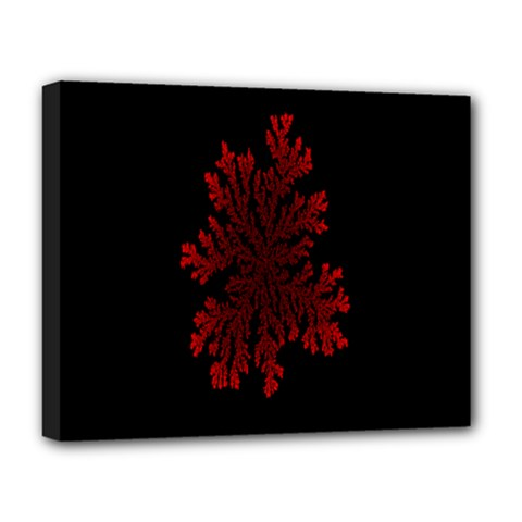 Dendron Diffusion Aggregation Flower Floral Leaf Red Black Deluxe Canvas 20  x 16