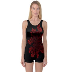 Dendron Diffusion Aggregation Flower Floral Leaf Red Black One Piece Boyleg Swimsuit