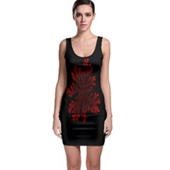 Dendron Diffusion Aggregation Flower Floral Leaf Red Black Sleeveless Bodycon Dress