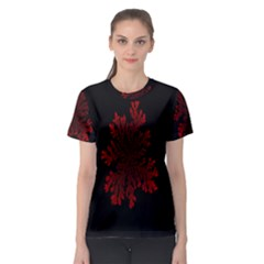 Dendron Diffusion Aggregation Flower Floral Leaf Red Black Women s Sport Mesh Tee