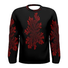 Dendron Diffusion Aggregation Flower Floral Leaf Red Black Men s Long Sleeve Tee