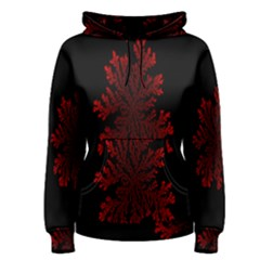 Dendron Diffusion Aggregation Flower Floral Leaf Red Black Women s Pullover Hoodie
