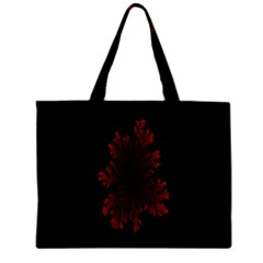 Dendron Diffusion Aggregation Flower Floral Leaf Red Black Zipper Mini Tote Bag