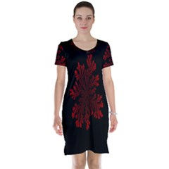 Dendron Diffusion Aggregation Flower Floral Leaf Red Black Short Sleeve Nightdress
