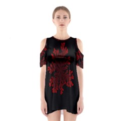 Dendron Diffusion Aggregation Flower Floral Leaf Red Black Shoulder Cutout One Piece