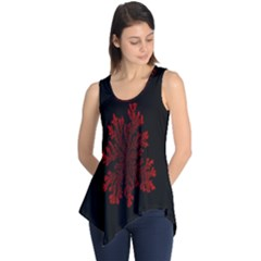 Dendron Diffusion Aggregation Flower Floral Leaf Red Black Sleeveless Tunic