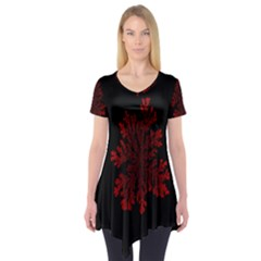 Dendron Diffusion Aggregation Flower Floral Leaf Red Black Short Sleeve Tunic