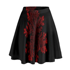 Dendron Diffusion Aggregation Flower Floral Leaf Red Black High Waist Skirt