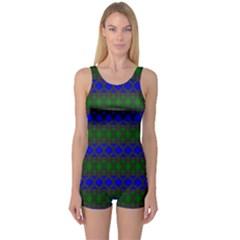 Diamond Alt Blue Green Woven Fabric One Piece Boyleg Swimsuit