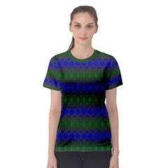 Diamond Alt Blue Green Woven Fabric Women s Sport Mesh Tee