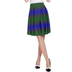 Diamond Alt Blue Green Woven Fabric A-Line Skirt