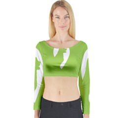 Dog Green White Animals Long Sleeve Crop Top