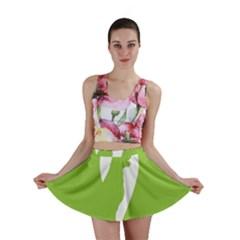 Dog Green White Animals Mini Skirt