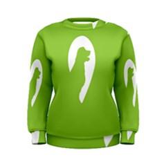 Dog Green White Animals Women s Sweatshirt