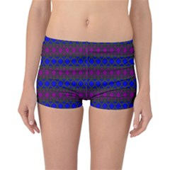 Diamond Alt Blue Purple Woven Fabric Reversible Bikini Bottoms
