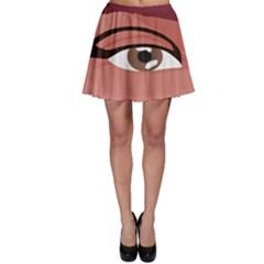 Eye Difficulty Red Skater Skirt
