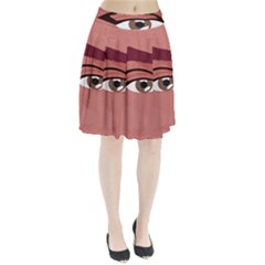 Eye Difficulty Red Pleated Skirt