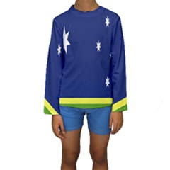 Flag Star Blue Green Yellow Kids  Long Sleeve Swimwear