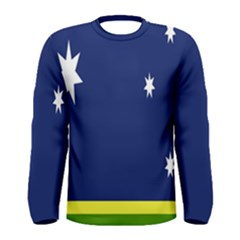Flag Star Blue Green Yellow Men s Long Sleeve Tee