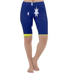 Flag Star Blue Green Yellow Cropped Leggings
