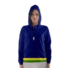 Flag Star Blue Green Yellow Hooded Wind Breaker (Women)