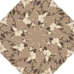 Floral Flower Rose Leaf Grey Hook Handle Umbrellas (Large)