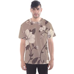 Floral Flower Rose Leaf Grey Men s Sport Mesh Tee
