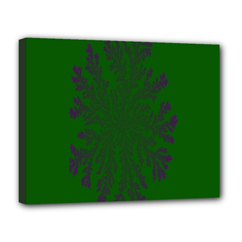 Dendron Diffusion Aggregation Flower Floral Leaf Green Purple Canvas 14  x 11