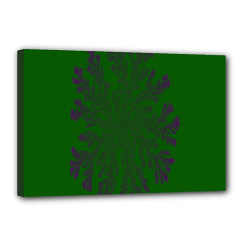 Dendron Diffusion Aggregation Flower Floral Leaf Green Purple Canvas 18  x 12
