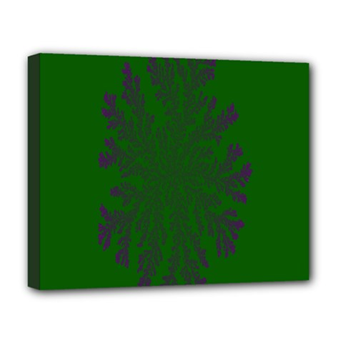 Dendron Diffusion Aggregation Flower Floral Leaf Green Purple Deluxe Canvas 20  x 16