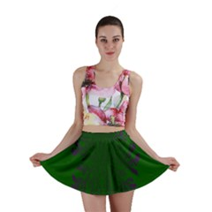 Dendron Diffusion Aggregation Flower Floral Leaf Green Purple Mini Skirt