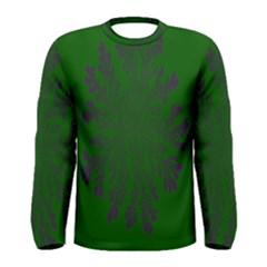 Dendron Diffusion Aggregation Flower Floral Leaf Green Purple Men s Long Sleeve Tee