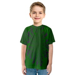 Dendron Diffusion Aggregation Flower Floral Leaf Green Purple Kids  Sport Mesh Tee