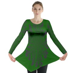 Dendron Diffusion Aggregation Flower Floral Leaf Green Purple Long Sleeve Tunic