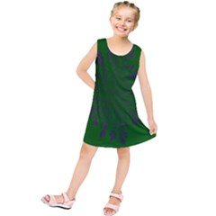 Dendron Diffusion Aggregation Flower Floral Leaf Green Purple Kids  Tunic Dress