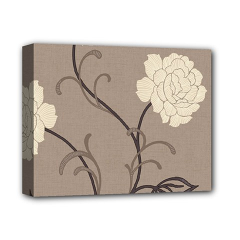 Flower Floral Black Grey Rose Deluxe Canvas 14  x 11