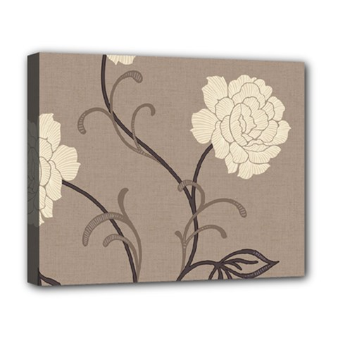 Flower Floral Black Grey Rose Deluxe Canvas 20  x 16
