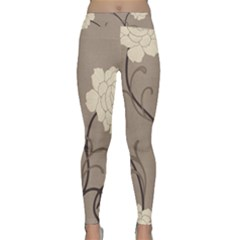Flower Floral Black Grey Rose Classic Yoga Leggings