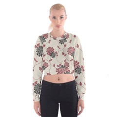 Flower Floral Black Pink Cropped Sweatshirt