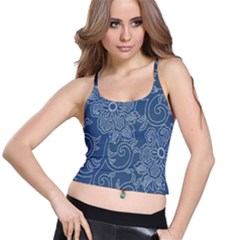 Flower Floral Blue Rose Star Spaghetti Strap Bra Top