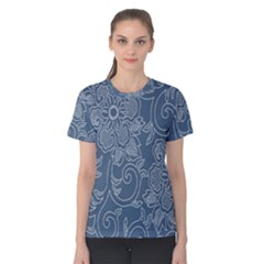 Flower Floral Blue Rose Star Women s Cotton Tee